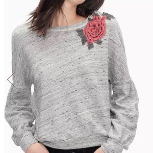 Splendid Gray Verdi Rose Appliqué Sweatshirt Top